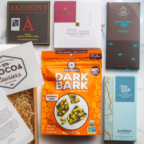 October Chocolate Subscription Box - Akesson's, Dark Bark from Taza, French Broad Sea Salt, Kluziel Chocolate, Domori chocolate