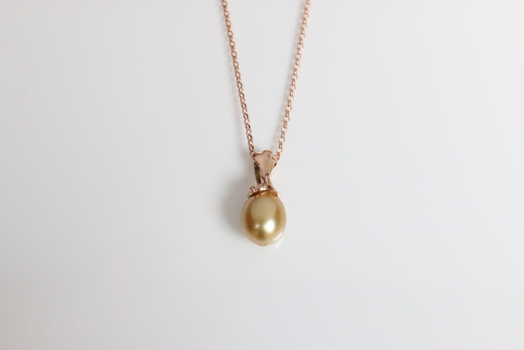 Rose Gold Australian Golden Pearl Pendant