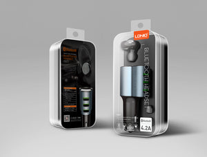 Ldnio 3-Usb Car Charger (4.2A) with Smart Bluetooth Headset (Auto ON/OFF)