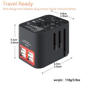 Premium Worldwide Travel Adapter - International Power Converter Outlet Wall Charger with 4 USB Charging Ports
