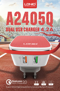 Premium Dual USB Fast Charger - With Qualcomm Quick Charge 2.0