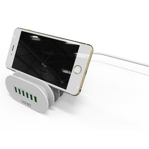 Premium 6-USB Auto ID Charger Hub - With Inbuilt Holder Stand