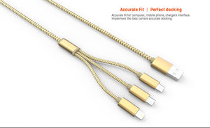 Premium Rapid Charge 3-in-1 USB Data Cable for Andriod, Apple