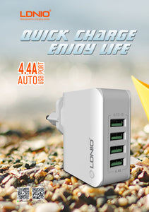 Premium 4-USB Smart Pocket Charger with Auto-Id (4.4A)