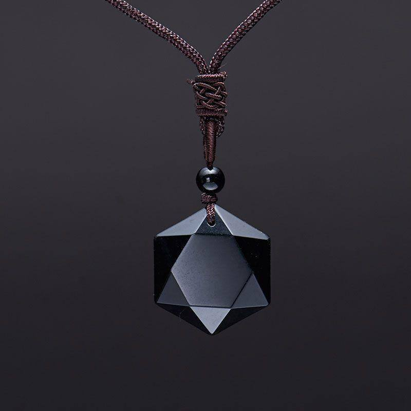 Up to 65% OFF - Pendants - Pure Obsidian Geometric Pendant with Eternal Braided Necklace | Wiki Wiseman