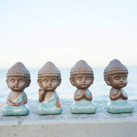 Glazed Ceremic Buddah Figurine Decorative Tea Set