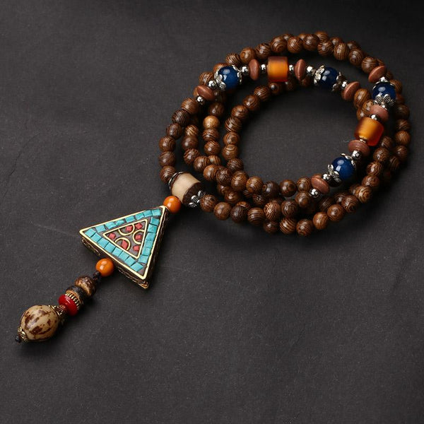 Ethnic Wooden Mala Beads with Pendant