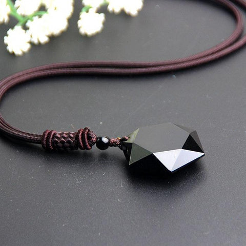 Pure Obsidian Geometric Pendant with Eternal Braided Necklace