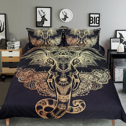 Premium Bohemian Elephant Goddess Bedding Set