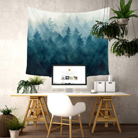 """Misty Evergreens"" Tapestry"