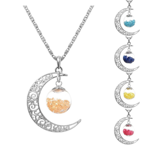 Up to 65% OFF -  - Mystical Crescent Rhinestone Orb Necklace Pendant | Wiki Wiseman
