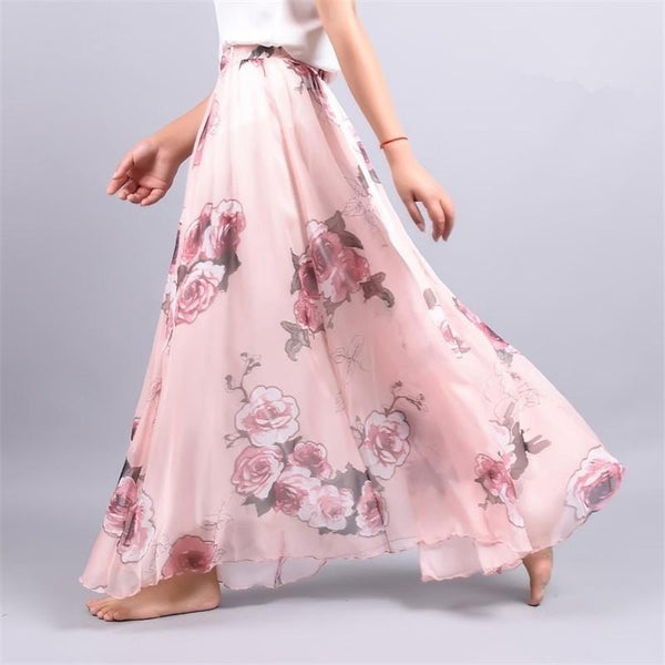 Up to 65% OFF -  - Vintage Bohemia Chiffon Floral Printed Women Boho Floor-Length Long Maxi Beach Party Loose Flare Skirt | Wiki Wiseman