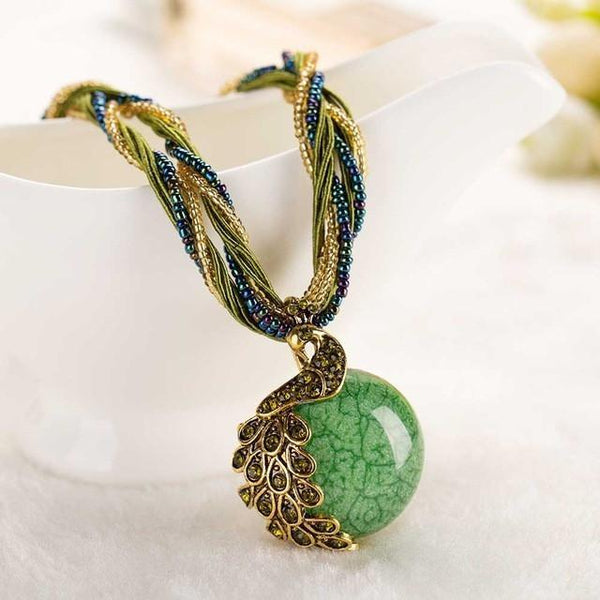 Up to 65% OFF -  - Limited Edition: Gypsy Peacock Beaded Stone Pendant | Wiki Wiseman
