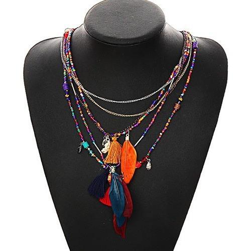 Up to 65% OFF -  - Multi-Color Feather Necklaces & Beads Chain Pendant Necklace | Wiki Wiseman