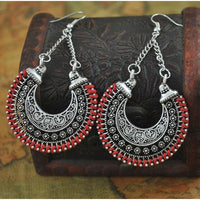 Up to 65% OFF -  - Boho Silver Vintage Carved Ethnic Power Long Drop Earrings | Wiki Wiseman
