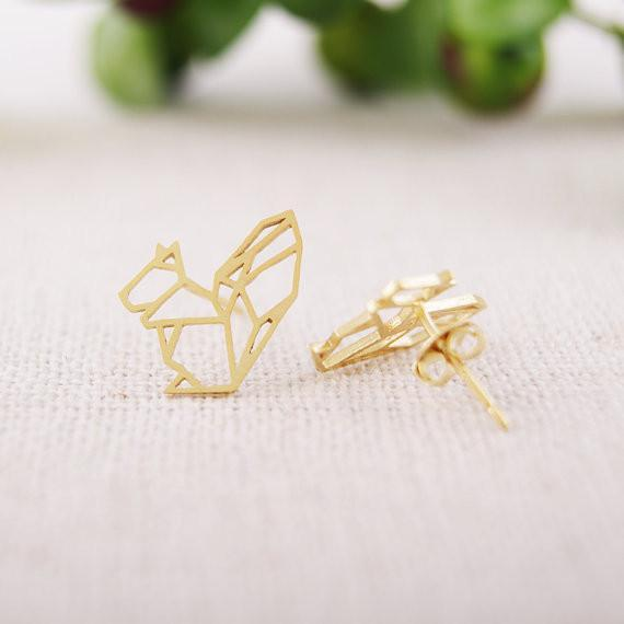 Up to 65% OFF -  - Origami Squirrel Stud Earrings | Wiki Wiseman