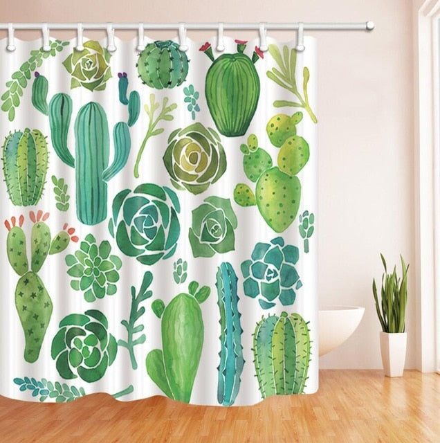 "Up to 65% OFF - Shower Curtains - ""Succulent Party"" Cactus Shower Curtain 