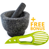 Mortar and Pestle Made of 100% Granite for the Kitchen Bonus Include: Avocado Slicer