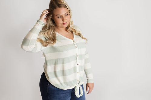Sage Striped Top