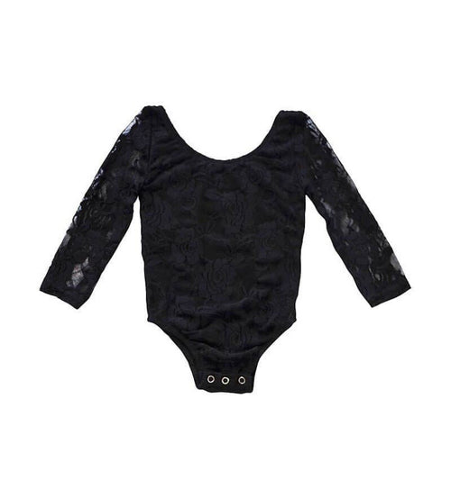 Lace Leotard- Black