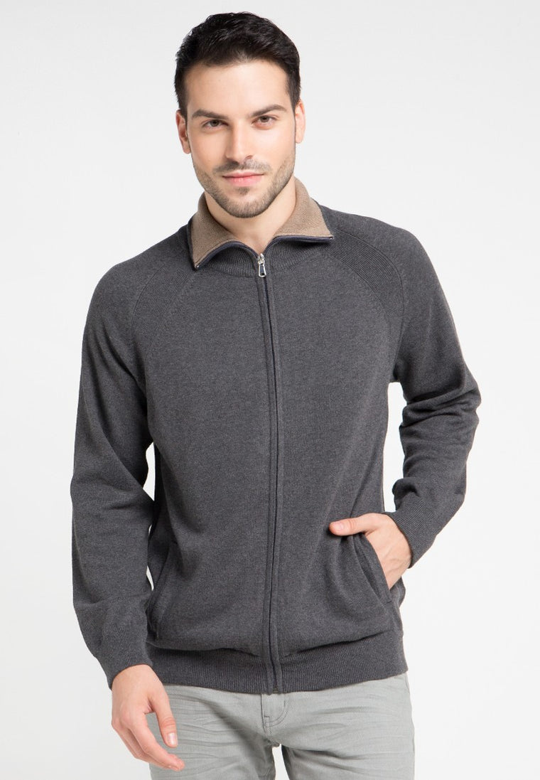 LA Cardigan Dark Grey-Brownmel