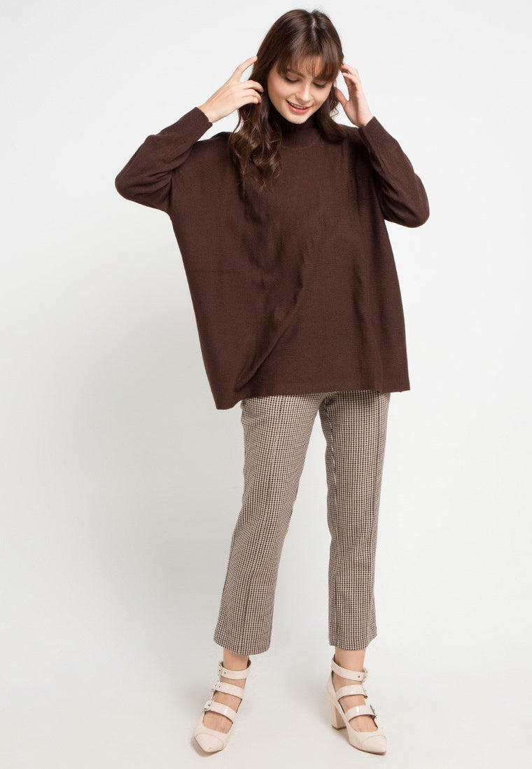 RED PONCHO - BROWN COFFE