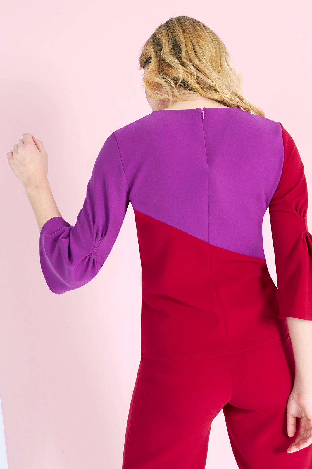 LUISA - Color Block Bluse mit Raffung
