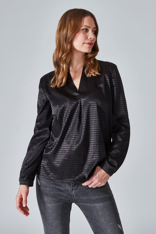 Relaxed - Fit Bluse im Hahnentritt Muster