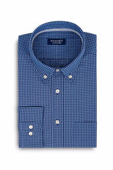 Navy & Blue Poplin Gingham Check Men's Shirt