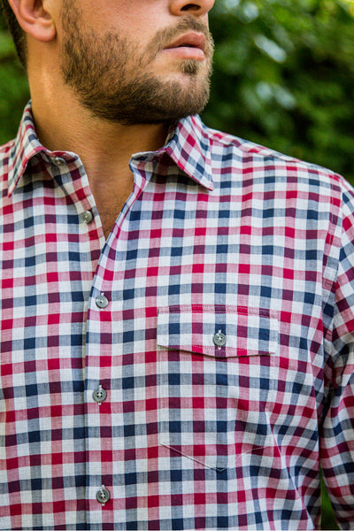 Multi Colour Gingham Herringbone Check Men's Shirt