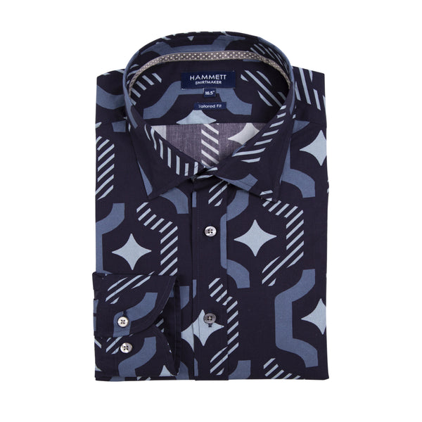 The CADIZ Men's Navy Geo Print Shirt