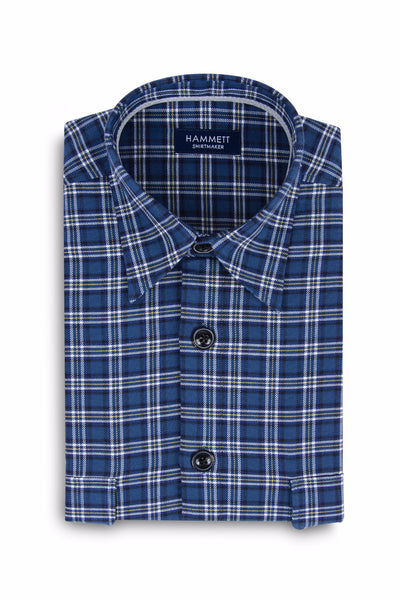Blue Heavy Twill Check Men's Overshirt