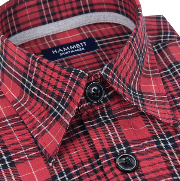 Red Soft Twill Check Men's Overshirt