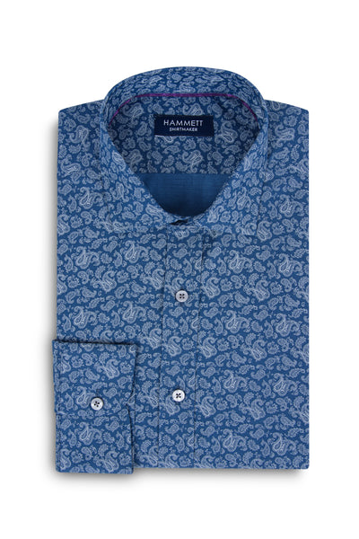 White on Blue Small Paisley Print Men's Shirt