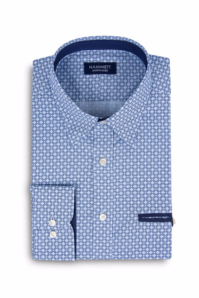 Blue Chain Link Print Smart Casual Men's Shirt