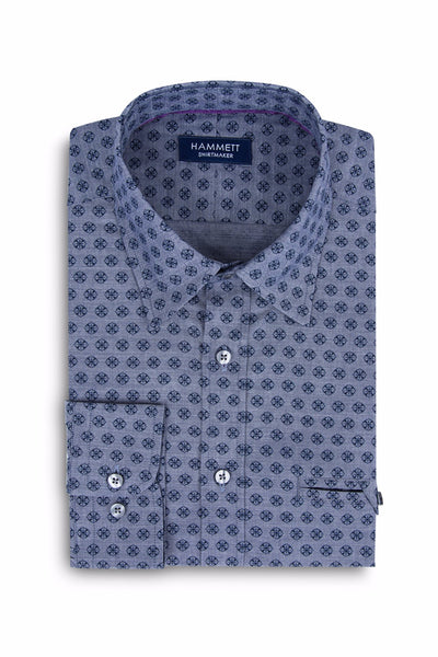 Navy Blue Small Floral Print Smart Casual Men's Shirt