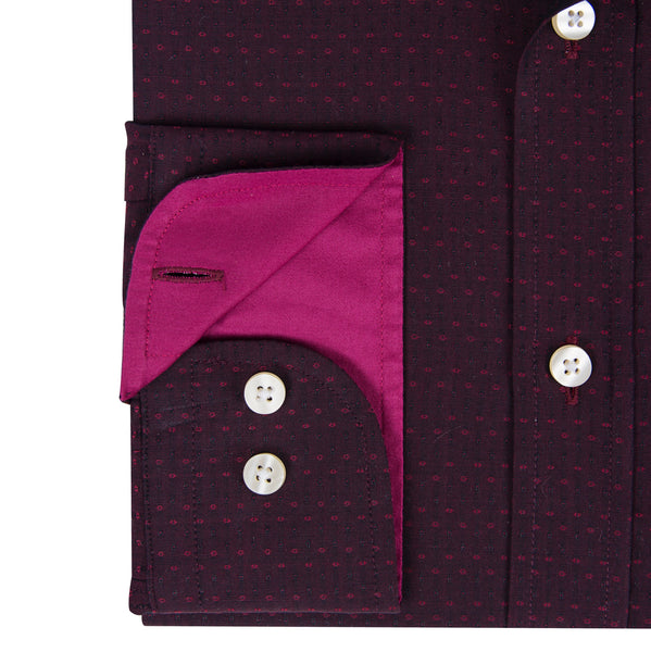 Two Tone Burgundy & Pink Dot Weave Men's Shirt