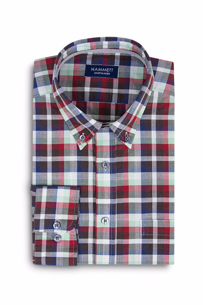 Multi Colour Poplin Check Casual Men's Shirt