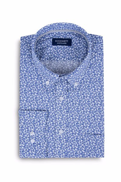 Mini Blue Paisley Print Casual Men's Shirt