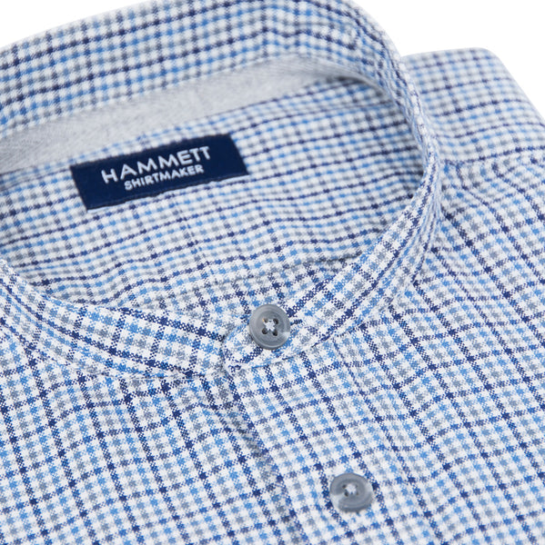 Blue & Grey Soft Oxford Mini Check Men's Shirt