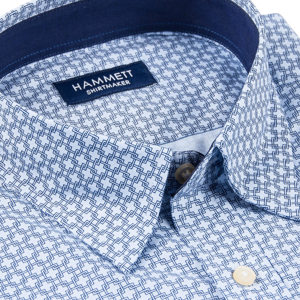 Blue Chain Link Print Men's Shirt