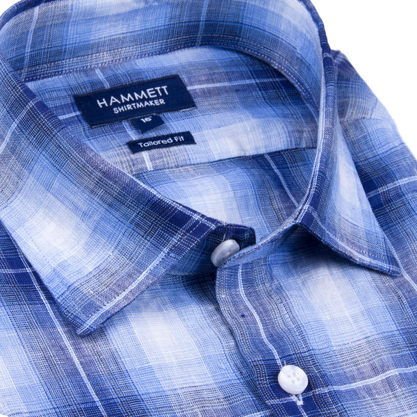 100% Luxury Linen Navy & Blue Check Short Sleeve Men's Casual Shirt With Flap Pocket