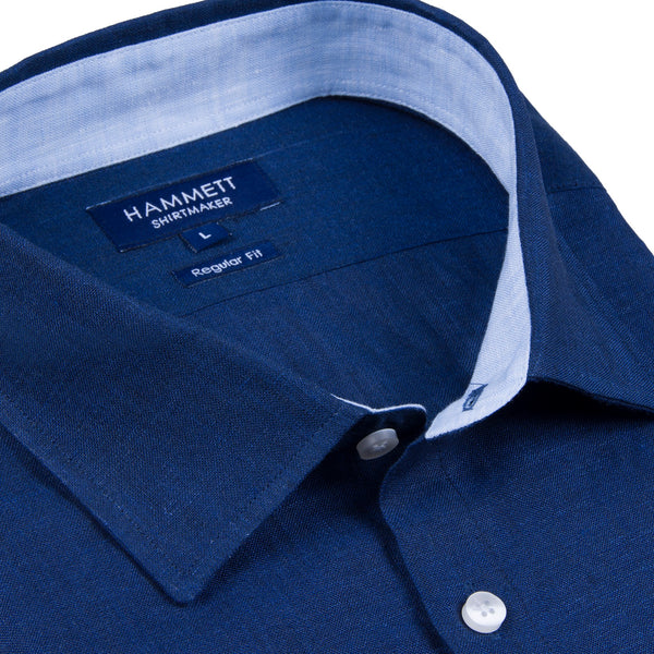 100% Luxury Linen Navy Short Sleeve Men's Casual Shirt With Flap Pocket
