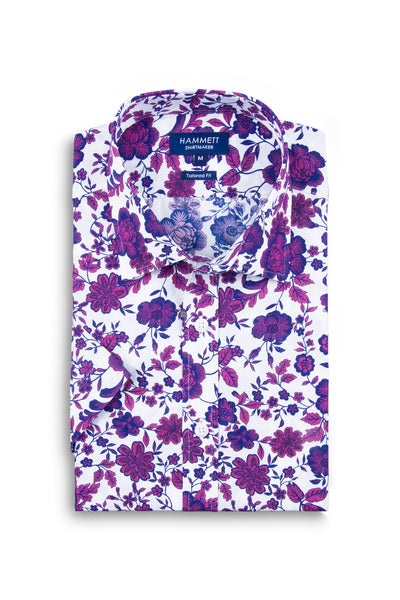 Wine Floral Print Men's Casual Short Sleeve Shirt
