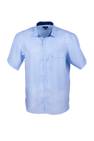 100% Luxury Linen Mid Blue Short Sleeve Men's Casual Shirt With Flap Pocket