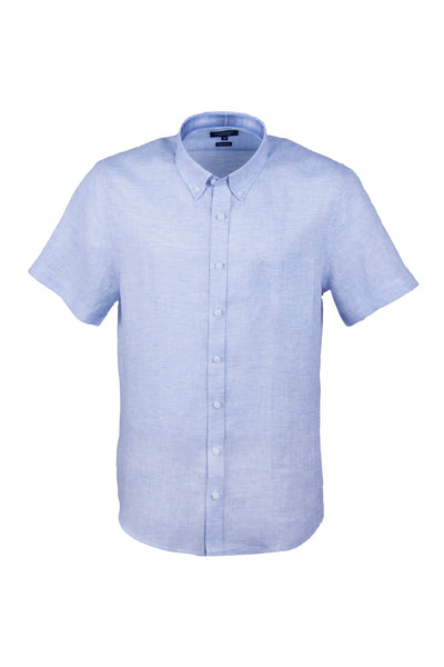 100% Luxury Linen Sky Blue Short Sleeve Men's Casual Button Down Shirt