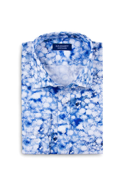 Blue Abstract Floral Print men's Designer smart casual shirt