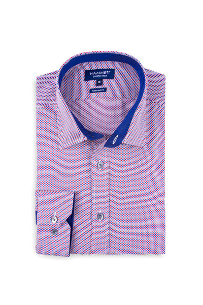 Red & Blue Micro Weave Design Smart Casual Men's Shirt