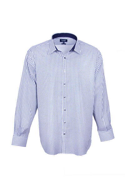 Pinpoint Oxford Cube Print Blue & White Men's Shirt