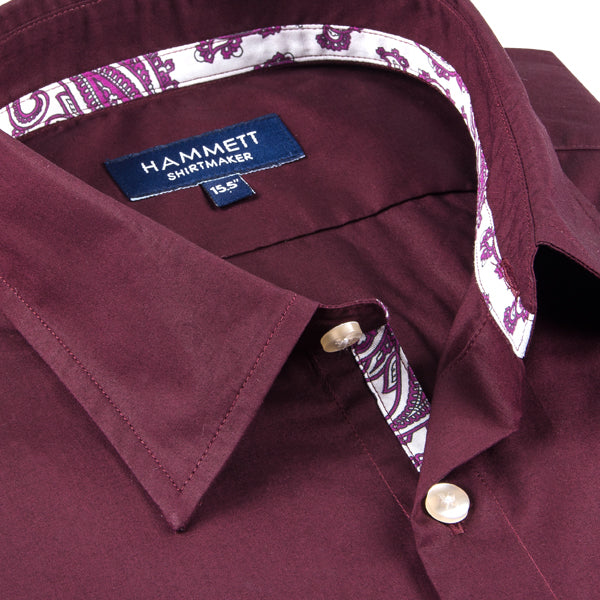 Dark Red Men's Shirt With Paisley Print Contrast Detail